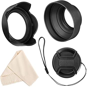 Veatree 77mm Lens Hood Set, Collapsible Rubber Lens Hood with Filter Thread + Reversible Tulip Flower Lens Hood + Center Pinch Lens Cap + Microfiber Lens Cleaning Cloth