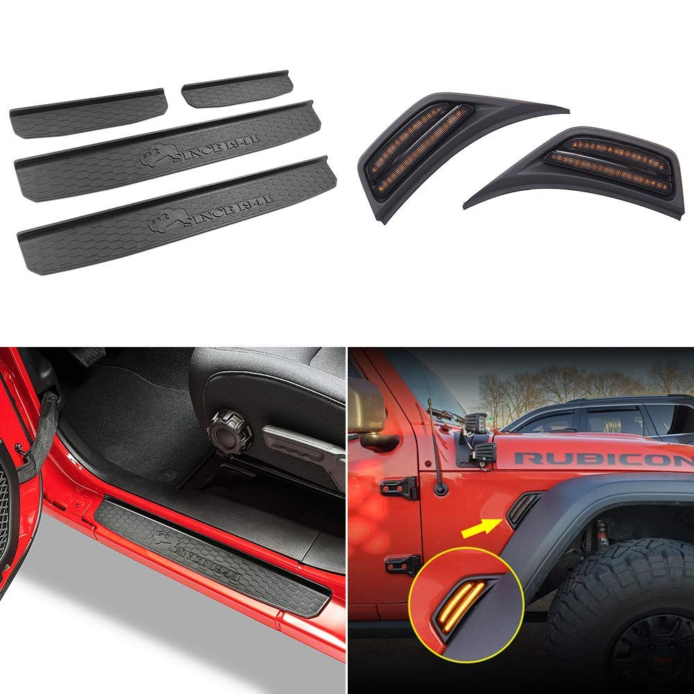 Black, 4 pcs XBEEK Door Sill Guards for 2020 Jeep Gladiator JT Accessories Entry Plate Cover with Gladiator Logo