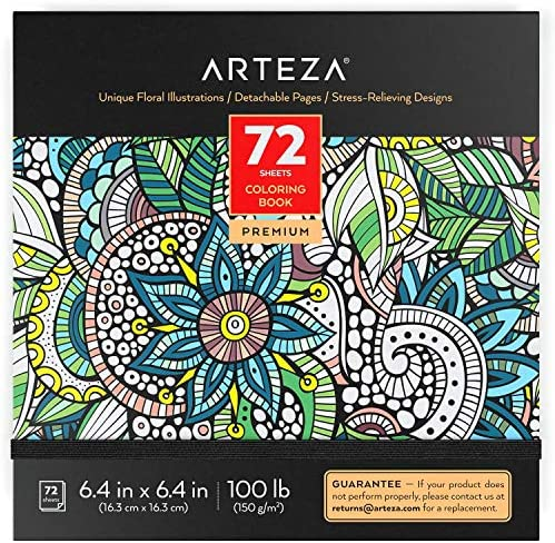 ARTEZA Coloring Book for Adults Floral Designs 72 Sheets 100 lb 6 4x6 4 Inches for Anxiety Stress product image