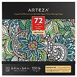 ARTEZA Livre à colorier pour Adultes, Motifs Floraux, 72 Feuilles, 150 g/m², 16,3x16,3 cm, pour l'anxiété, Le soulagement du Stress et la détente, Pages détachables