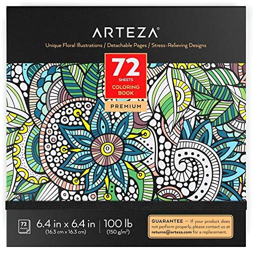 ARTEZA Libri da Colorare per Adulti, Disegni da Colorare per Adulti a Motivi Floreali, 72 Fogli, 150 g/m2, 16,3x16,3 cm, Libro Antistress da Colorare