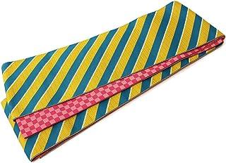 (オオキニ)大喜賑 半幅帯 日本製 リバーシブル 浴衣 帯 レディース 斜めライン (金茶×青緑/ピンク)
