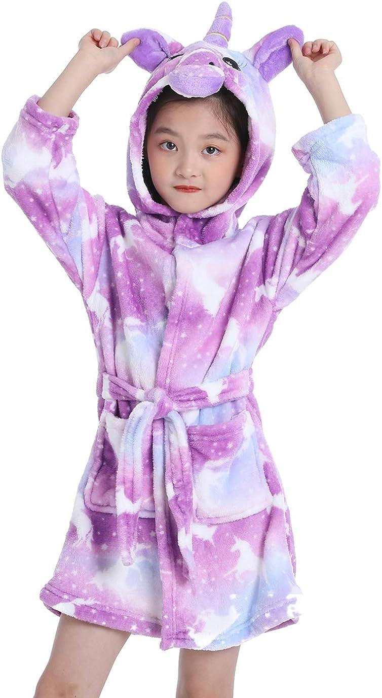 Soft Unicorn Robe Flannel Hooded Bathrobe Sleepwear Unicorn Gifts for Girls and Boys
