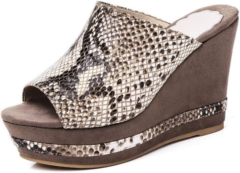 Womens Snake Print Wedge Platform Slide Sandals Open Toe Slip-On Slipper Cork Roman High Heel Mule