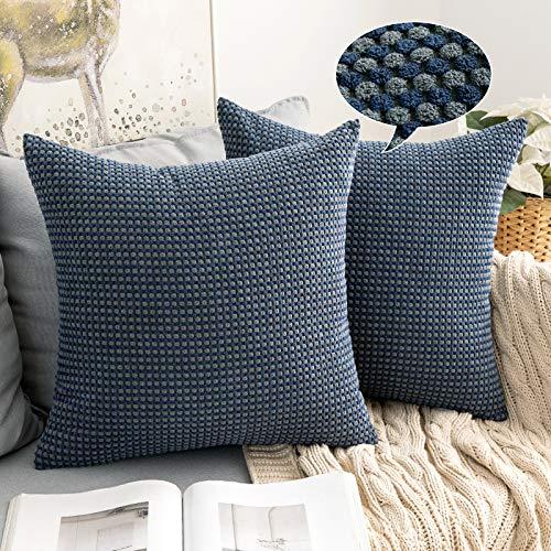 MIULEE 2er Set Granulat Kissenbezug Weiches Massiv Dekorativen Quadratisch Überwurf Kissenbezüge mit verstecktem Reißverschluss Kissen für Sofa Schlafzimmer Kinderzimmer 40x40cm Blau und Grau