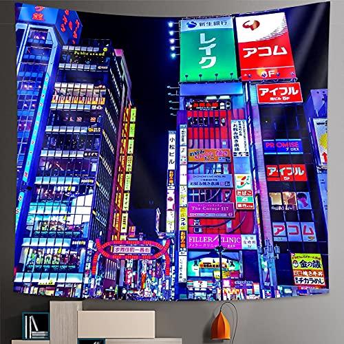MIKUAJ tapizTapiz de la Vida Nocturna de la Ciudad de Osaka, Colgante de Pared para Dormitorio, decoración del hogar, Hoja Impresa Hippie Decorativa Bohemia