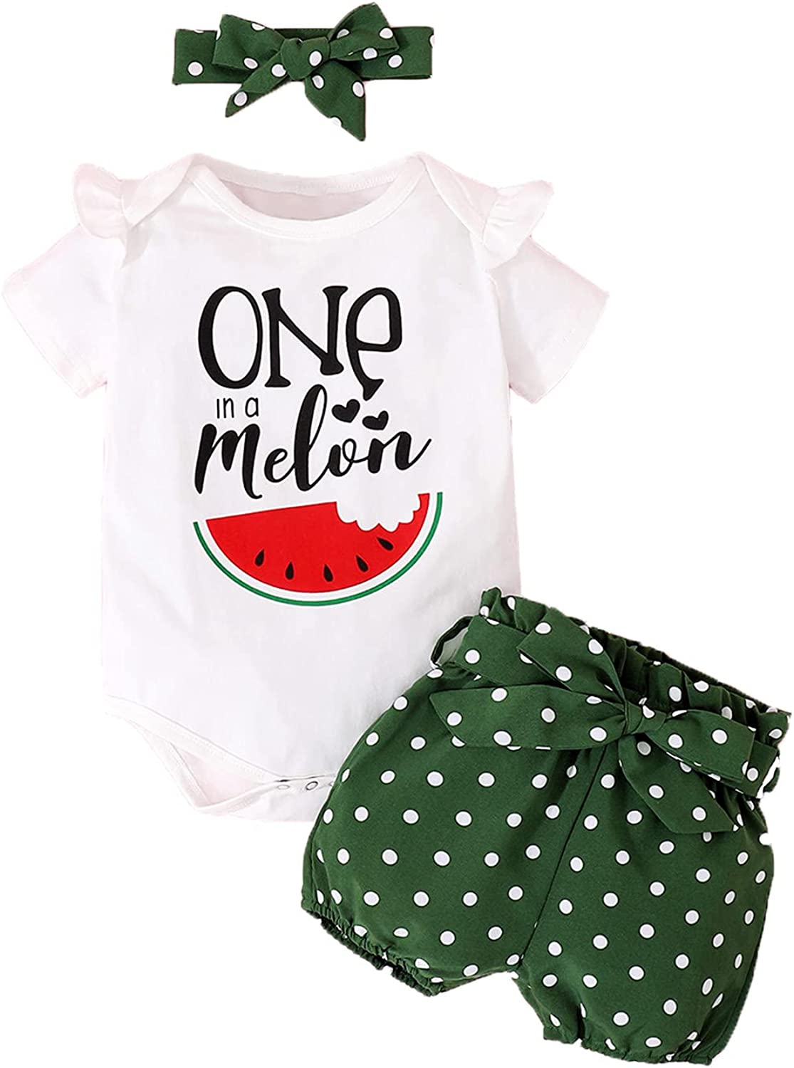 Shalofer Baby Girls First Birthday Outfit Toddler One in a Melon Short Set