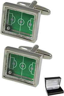 COLLAR AND CUFFS LONDON - Premium Cufflinks with Gift Box - Soccer Pitch with Moving Ball - Brass - Rectangle Sports Fans Match Football Game - Silver and Green Colour