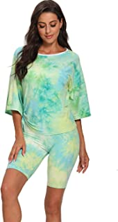 Two Piece Outfits Biker Shorts Sets for Women, Tie Dye Summer Pajamas Tracksuit Set Drawstring T Shirts Short Leggings
