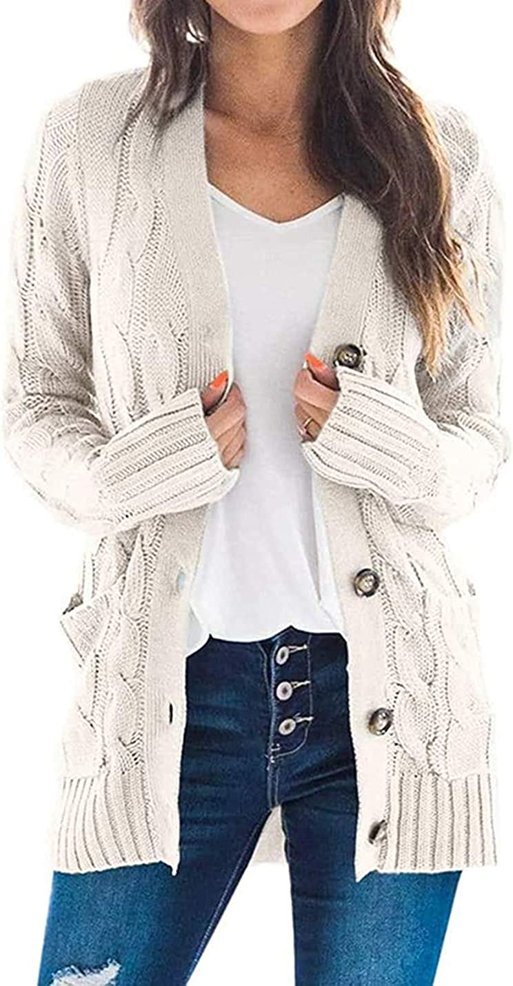Fekermia Womens Plus Size Button Down Long Sleeve Cardigan Sweaters Open Front Chunky Cable Knit Loose Outwear with Pockets