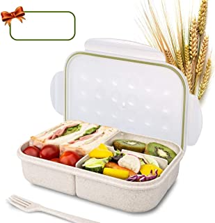 Bento Box for Kids Lunch Box Lunch Container for Adults, Leak Proof Bento Lunch Container, BPA Free Kids Bento Box, Portion Control Containers, Wheat Fiber Safe Healthy (transparent, rectangle)
