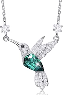 MXIN Hummingbird Necklaces S925 Sterling Silver Necklaces for Women Embellished with Crystals from Swarovski Jewelry for Women, Animal Necklace Gifts for Girlfriend and Mom Black