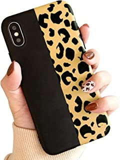 for iPhone 6 iPhone 6S Case,L-FADNUT Fashion Colorful Leopard Print Case Chic Luxury Soft Phone Case Ultra Slim Shockproof Rubber Cover Protective Matte Back Case for Girls Women, Black
