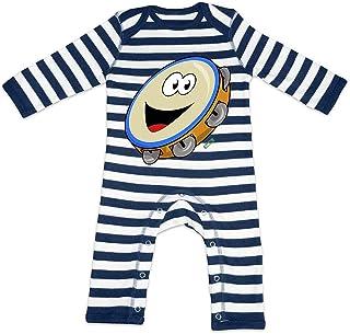 HARIZ HARIZ Baby Strampler Streifen Tamburin Lachend Instrument Kind Witizg Inkl. Geschenk Karte Navy Blau/Washed Weiß 3-6 Monate