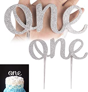 BLULITTLE The One Sign Cake Topper Baby's First Birthday Glitter Party Decorations Supplies Silver Fancy Smash Cake Photoshoot Decor (Grey 1Pack)