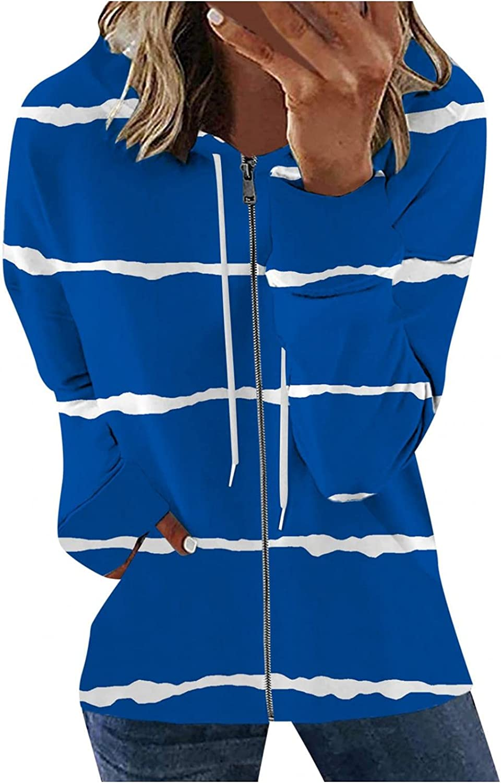 FABIURT Long Sleeve Shirts for Women,Womens Tops Full Zip up Tunic Tee Shirts Casual Striped Loose Fit Shirts Blouses