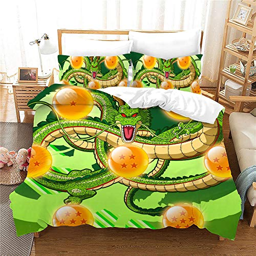 Duvet Cover Super King Size Dragon Ball Bedding 3-piece set, 1 Microfiber 220 x 260 cm Quilt Cover and 2 Pillowcases 50 x 90 cm with Zipper Closure printing Duvet Cover set