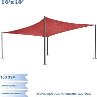 E&K Sunrise 13' x 13' Red Rectangle Sun Shade Sail Outdoor Shade Cloth UV Block Fabric,Curve Edge-Customized