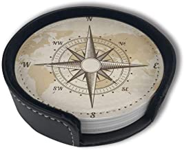 HBLSHISHUAIGE Vintage Nautical Compass Old World Map Coasters with Holder Set,Round Mugs and Cups Mat Pad for Drinks,Suitable for Home and Kitchen(6PCS)