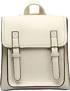 Neuleben Umwandelbar Rucksack Umhängetasche Rucksacktasche Damen Mädchen Damenrucksack Vintage Klein Damentasche aus PU Leder Rucksäcke Tasche Weiß