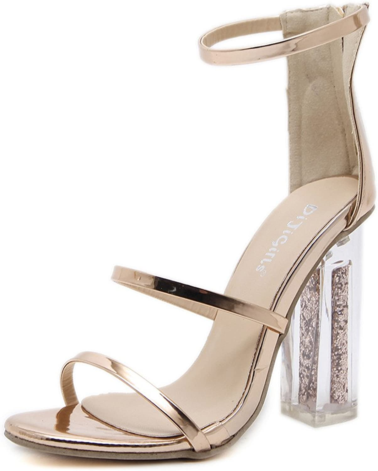 Women Open Toe Ankle Strap gold Sandals Crystal Transparent Clear Block Thick High Heel Sequined shoes