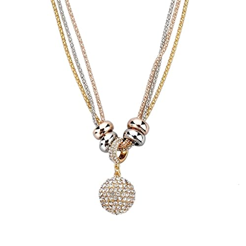 83152d717881ad Long Way Women's Gold Silver Rose Gold Long Chain Crystal Full Rhinestone  Ball Drop Pendant Necklace