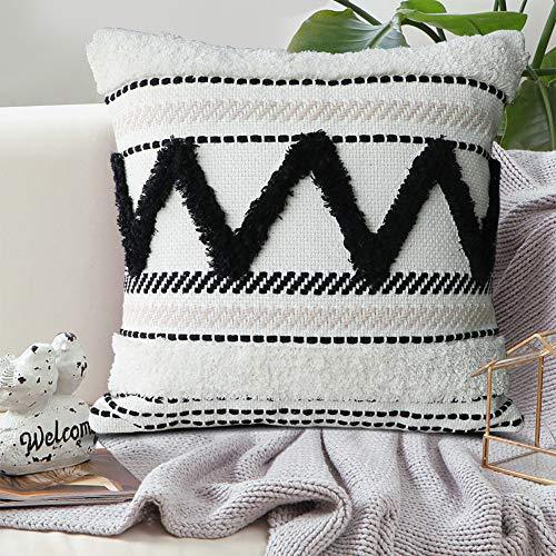 Dremisland Kissenbezüge mit Quasten im Bohemian-Stil, bestickt, dekorativ, quadratisch, gewebte Kissenbezüge für Couch Wohnzimmer Sofa Bett mit unsichtbarem Reißverschluss, 45,7 x 45,7 cm (Beige)
