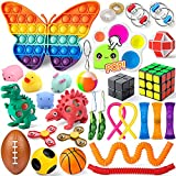 Sensory Fidget Toy Pack, 30PCS Anxiety Stress Relief Fidget Toys for Kids Autism Push Pop Bubble Sensory Toys Squishy Pinata Goodie Bag Fillers Classroom Reward Birthday Gift for Boys Girls Adults