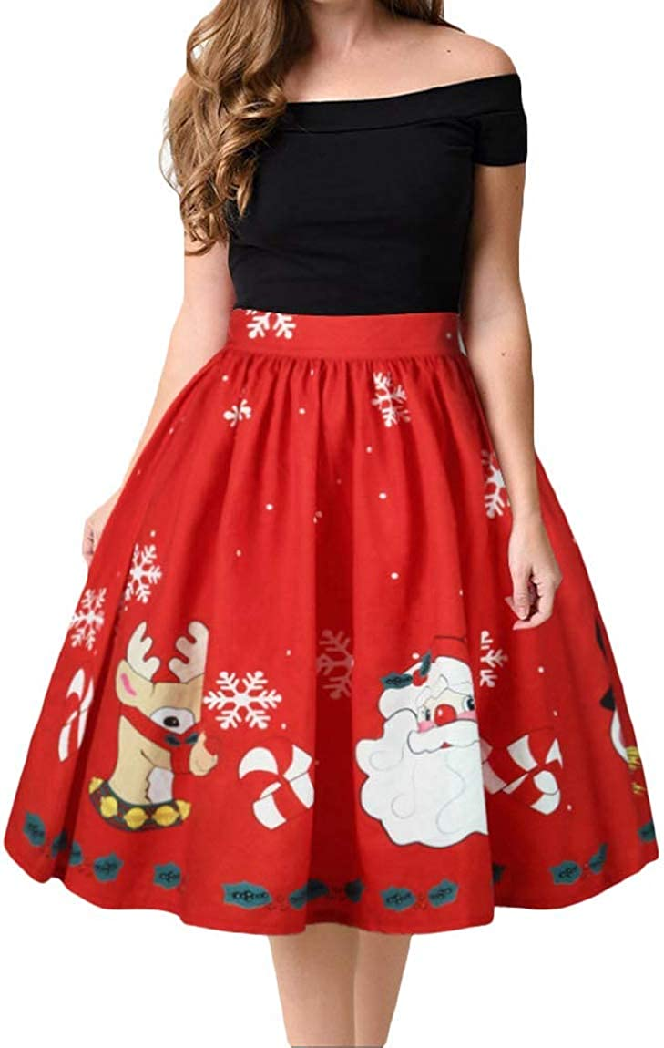 Mo Shang Womens Christmas High Waist Vintage Printed Pleated Flared A-Line Midi Skirt