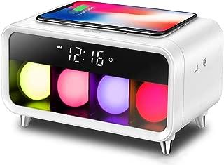 【2019年 アデッソ ワイヤレスチャージングクロック デジタル時計 ワイヤレス充電(Qi規格) 対応 iPhone/Android アラーム スヌーズ カラーボールライト付き 置き時計 QA-01(ホワイト)