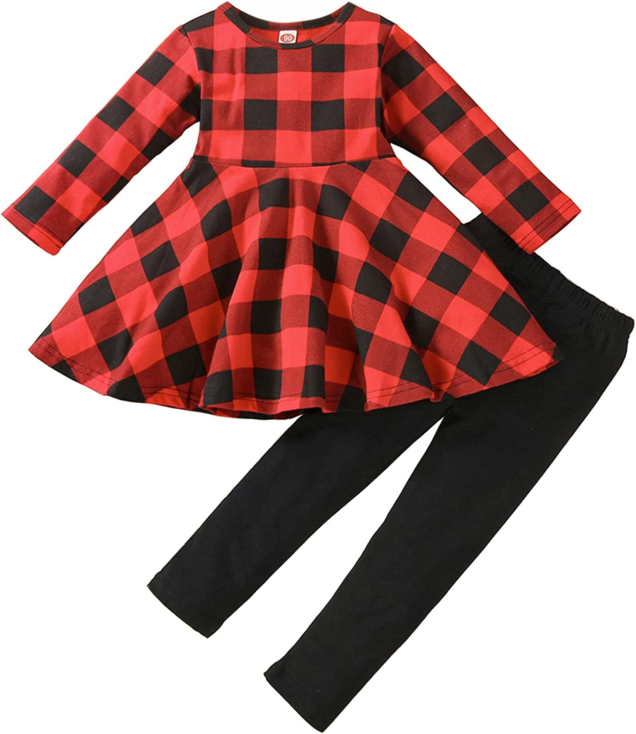 Toddler-Baby-Girl-Christmas-Clothes-Set Little Girls Tunic Dress +Leggings Outfit Princess Boutique Clothing