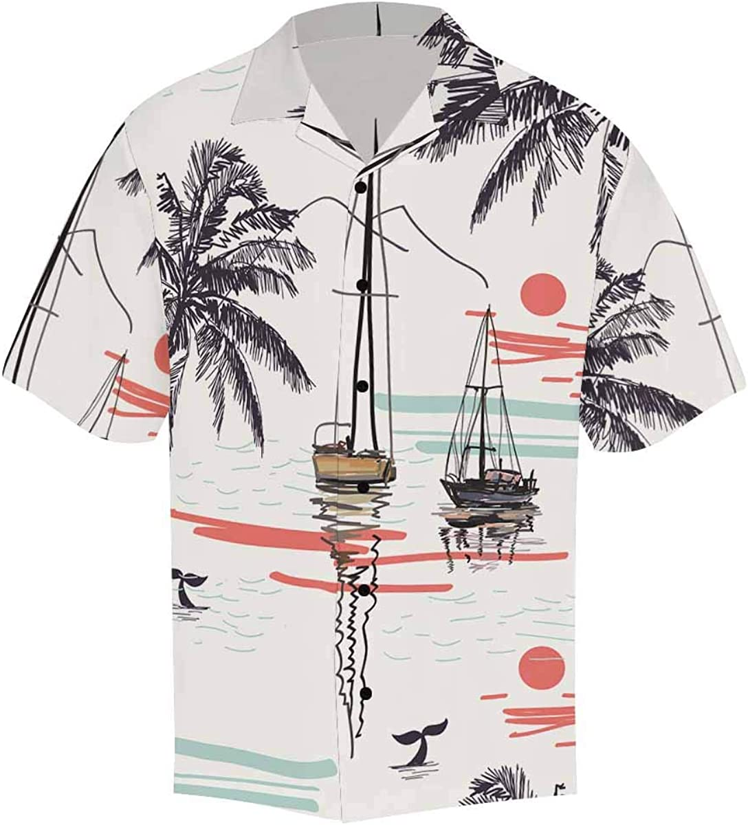 InterestPrint Men's Casual Button Down Short Sleeve Welcome Beach Palm Tree Hawaiian Shirt (S-5XL)