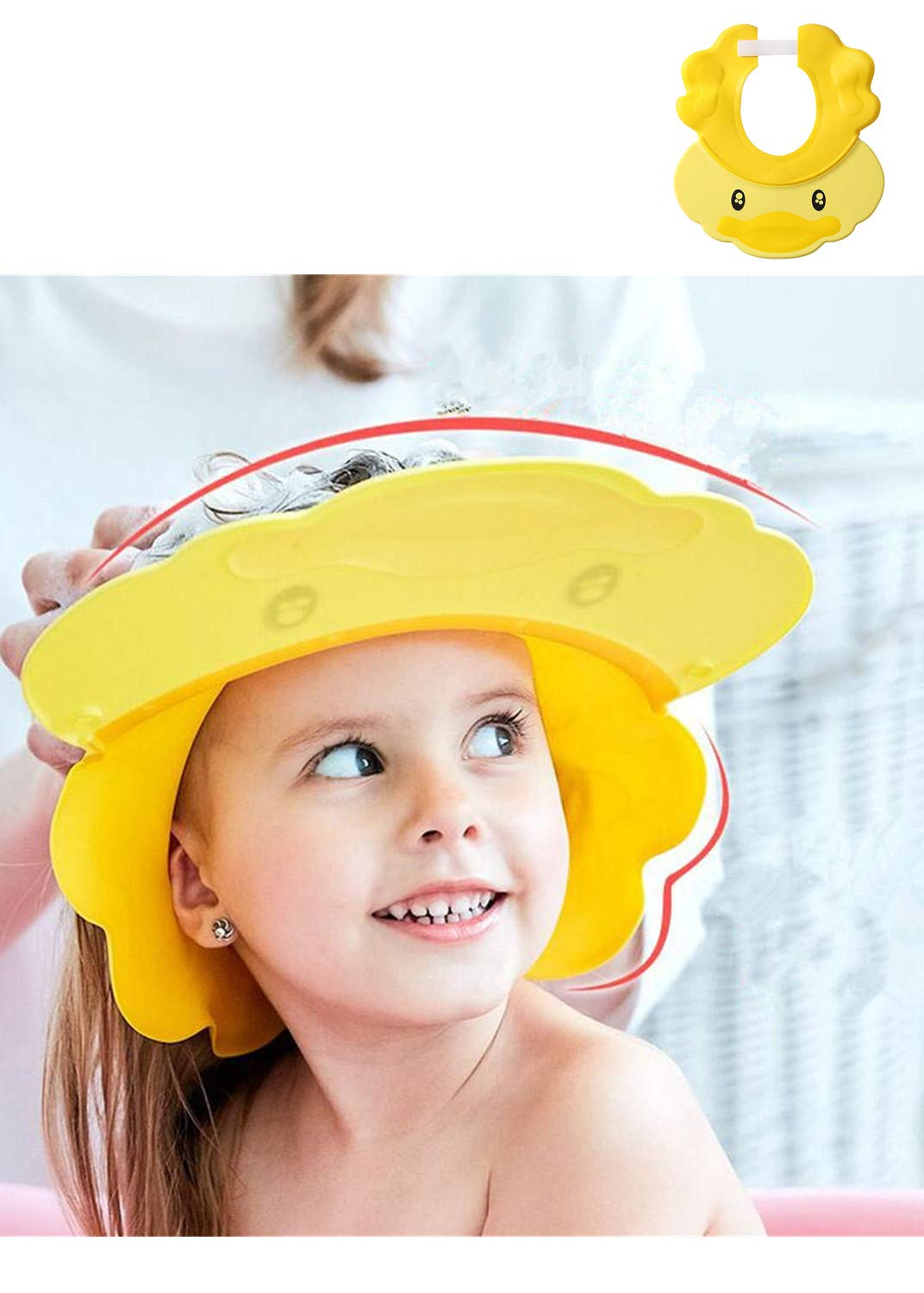 Baby Shower Cap Yellow Adjustable Silicone Shampoo Shower Hat with Earmuff for Baby Kids Children Shower