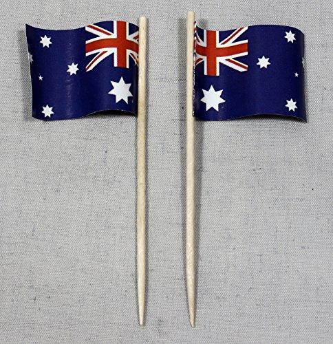 Buddel-Bini Party-Picker Flagge Australien Papierfähnchen in Profiqualität 50 Stück Beutel Offsetdruck Riesenauswahl aus eigener Herstellung