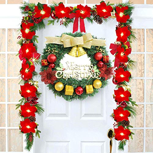 Fineday Merry Christmas Party Poinsettia Wreath Small Bell Door Wall Garland Decoration, Decoration & Hangs for Christmas (Red)