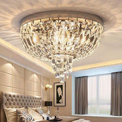 Luxus–Lámpara colgante de techo (Moderno Cristal Redondo, cristal transparente gota, Chic Estilo de metal dorado Barroco 1de techo, LED 5W Ø35cm [Clase energética A + +]