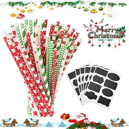LYTIVAGEN 125 Stück Papier Strohhalme Biologisch Trinkhalme Abbaubar Strohhalme Weihnachten Papierstrohhalme Dekorative Trinkhalme mit 6 Aufklebern für Weihnachten Party