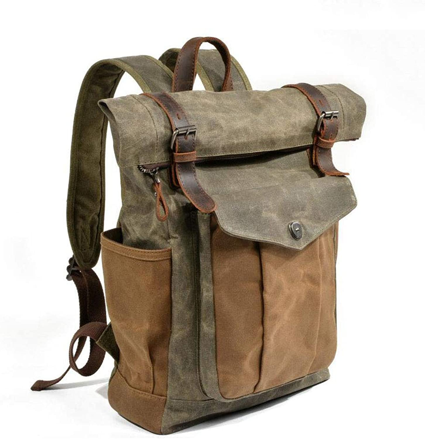 Casual Backpack, Outdoor Travel Bag Canvas Large Capacity Rucksack Waterproof Wear-Resistant Retro Daypack for Travel Sports Camping,A