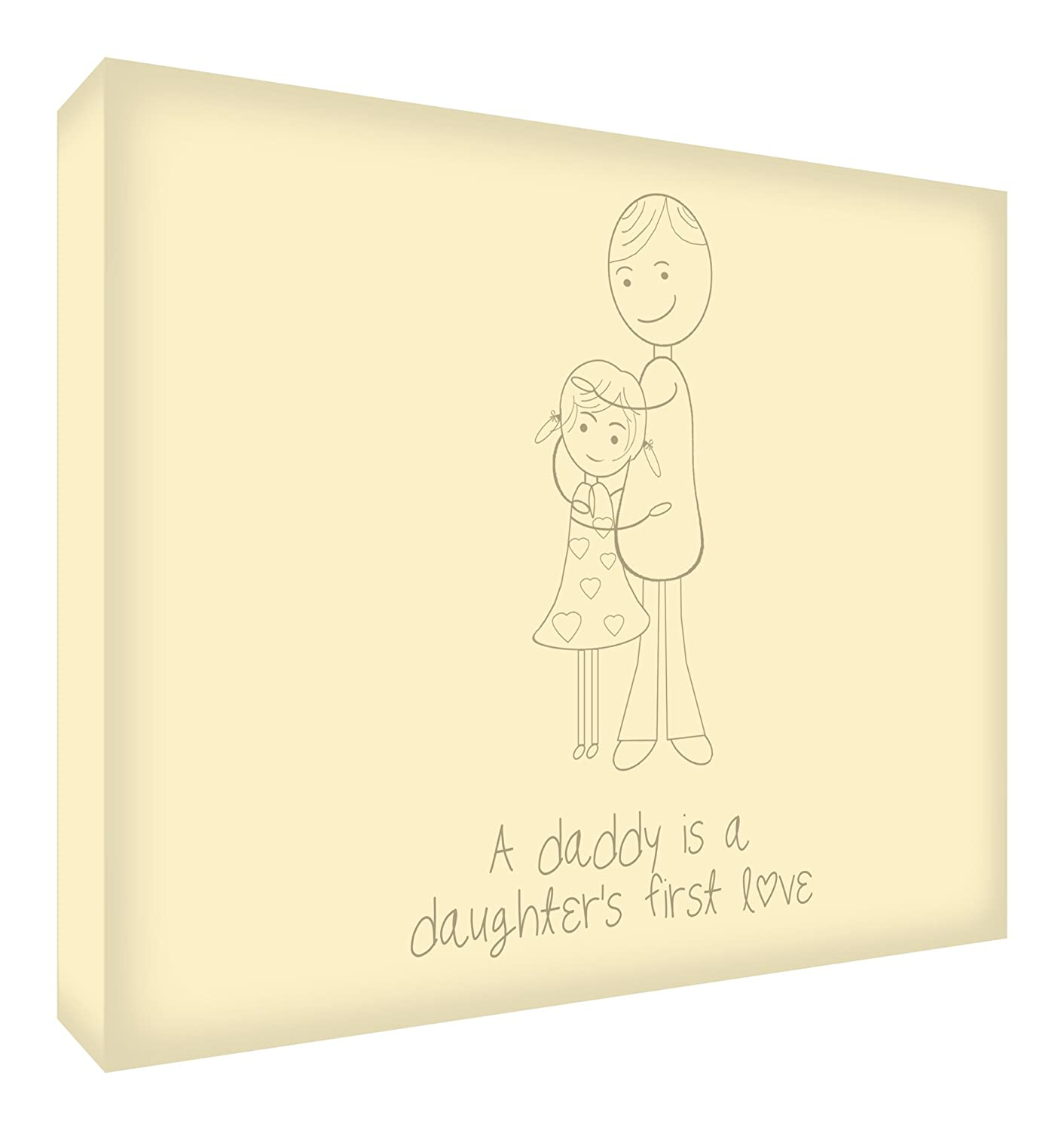Feel Good Art Diamond-Polished Token in Modern Illustrative Design 10.5 x 14.8 x 2 cm, Small, Black, A Daddy is a Daughters First Love