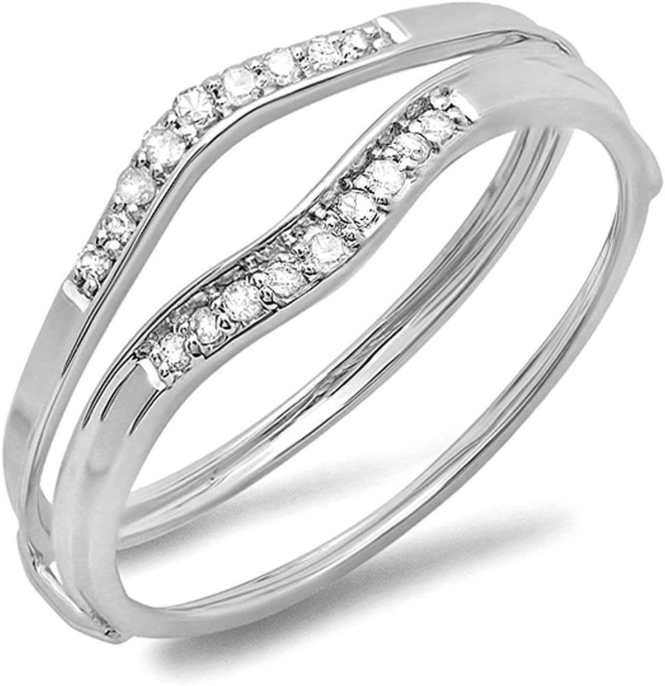 SVC-JEWELS 0.20Ct Round Cut Cubic Zirconia 14K White Gold Plated Swarovski Enhancer Guard Wrap Ring For Women's