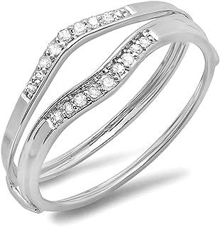 Anillo de boda de oro de 18 quilates con diamante blanco redondo de 0,12 quilates para aniversario de mujer