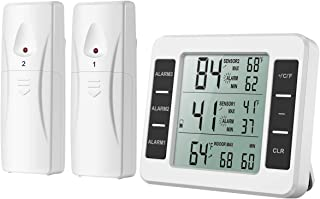 AMIR Refrigerator Thermometer, Wireless Indoor Outdoor Digital Freezer Thermometer, Sensor Temperature Monitor with Audibl...