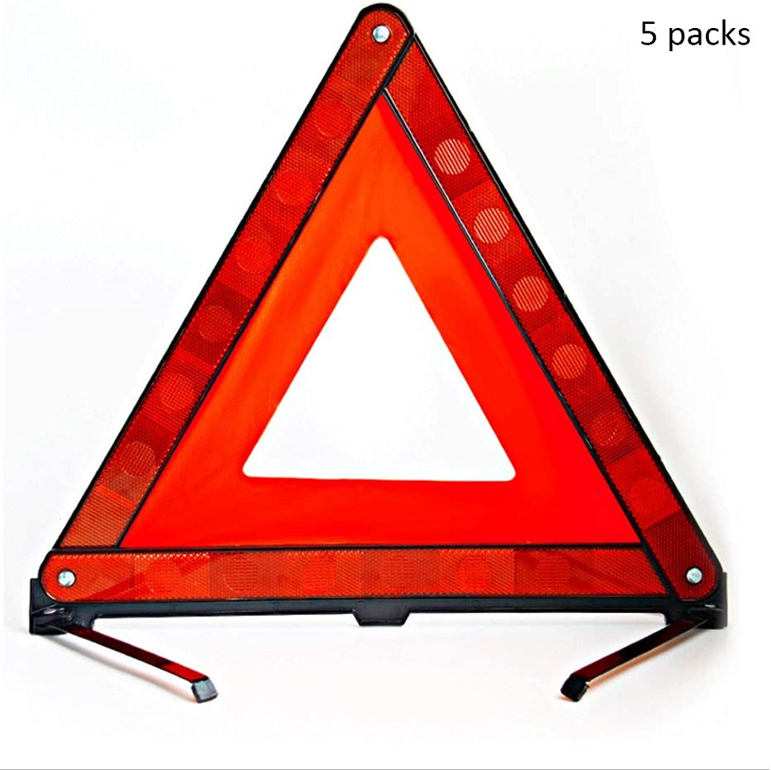 XXW Traffic Cone Car Tripod Warning Sign Folding Safety Stop Sign Car Strong Reflective Threelegged Warning Stand Conical Road Sign (color   5 packs, Size   43cm)