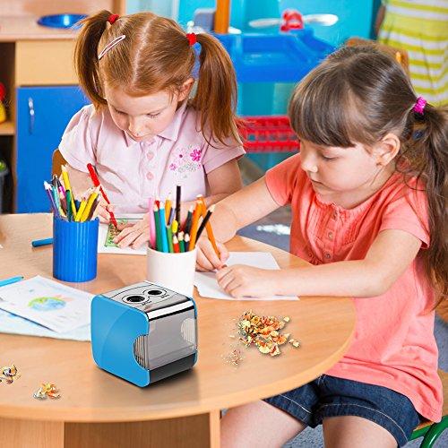 Sacapuntas de lápiz eléctrico, Oladwolf Sacapuntas automático pencil sharpener con dos agujeros, Batería de sacapuntas USB con 6 Cuchillas Perfecto para aula de los niños, Oficina