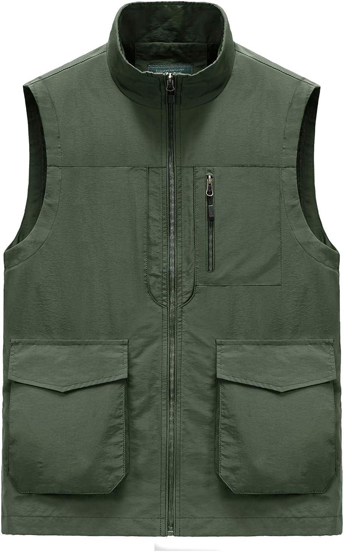 Shanghai Story Men's Outdoor Fishing Travel Vest with Pockets Summer Work Jacket Quick Dry Travel Safari Fishing Vest