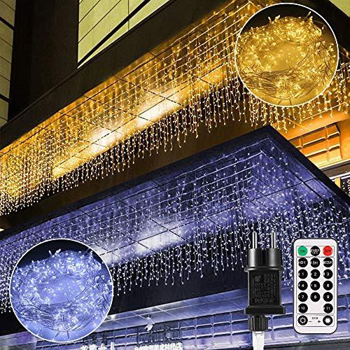 Guirlande Lumineuse, Rideau Lumière,B-right 12M LEDs chaîne légère à l'extérieur et à l'intérieur,rideau à chaîne légère blanc chaud et blanc froid avec télécommande,pour Fête,Chambre,Noël,Mariage