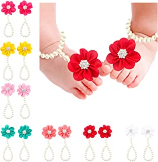 7PC Baby Girl Pearl Chiffon Barefoot Flower Sandals Value Set,Lovely and Charming Design Available Fit 3~48 Months (Color)