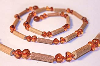 The Art of Cure 17 inches - Baltic Amber & Hazelwood Necklace (Unisex) (HONEY) - 100% Authentic Certificated Baltic Amber & Hazelwood Jewelry with the Highest Quality Guaranteed.