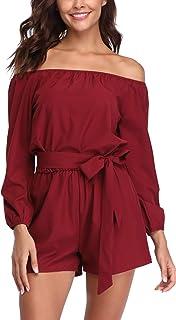 MISS MOLY Mujer Mono Elegante Cortos Verano Fuera del Hombro Casual Pantalones Ropa Vestir Cintura Alta Vendaje Ajustado S...