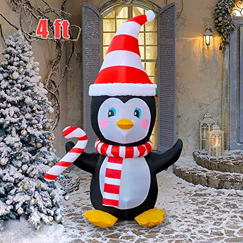 Megaction 4 Foot Christmas Inflatable Cute Mini Penguin with Candy Cane- Yard, Home Party Blow Up Decoration